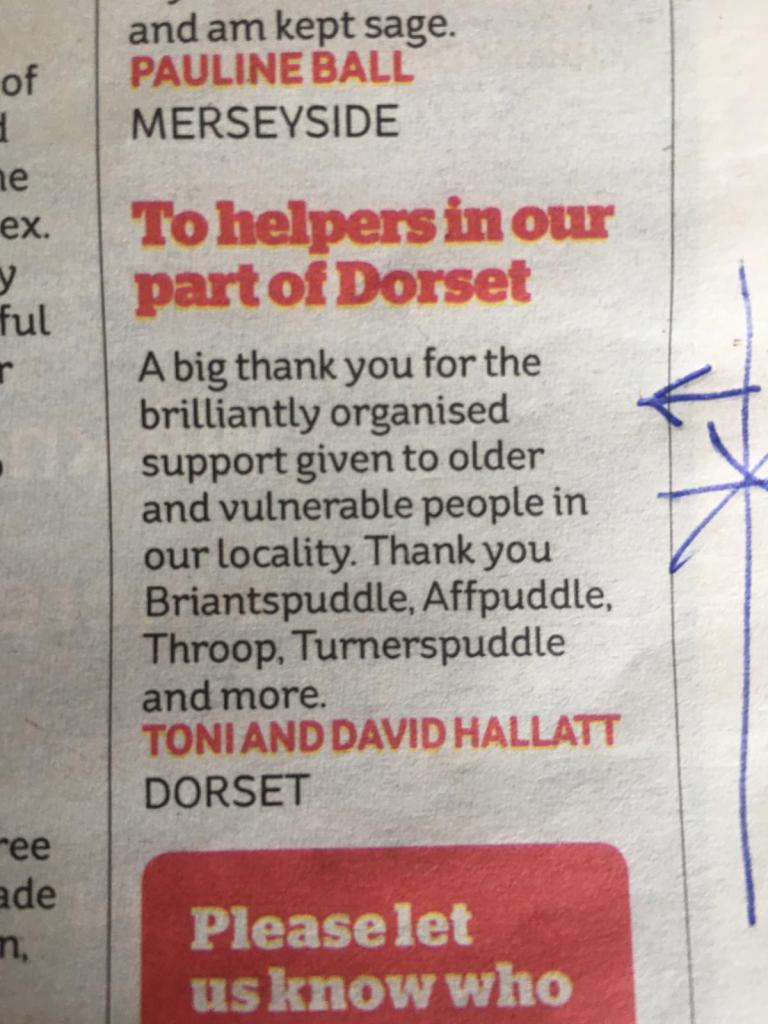 copy of note of thanks from residents writing their appreciation to the newspapers