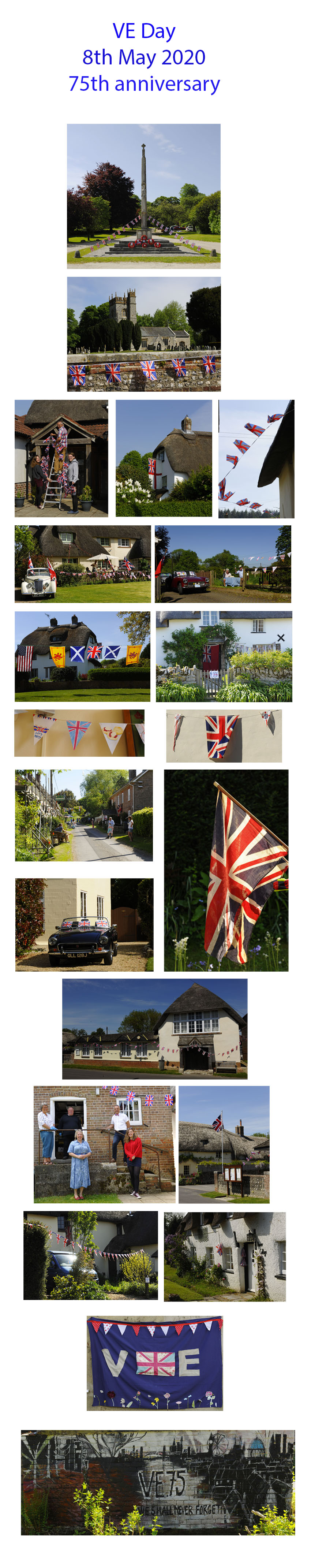 composite phot of village decked out for VE Day 75