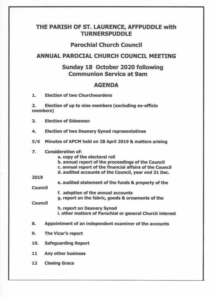 AGM 2020 Agenda