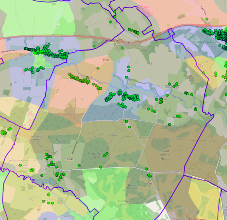 map of the parish showing properties in the parish eligible for the Voucher Scheme